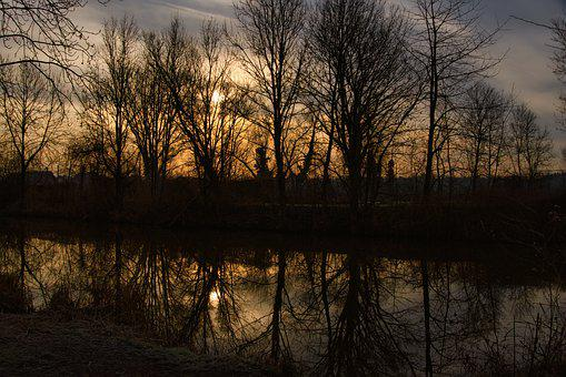 Morning, Sunrise, Winter, Mirroring, Glade, Nature