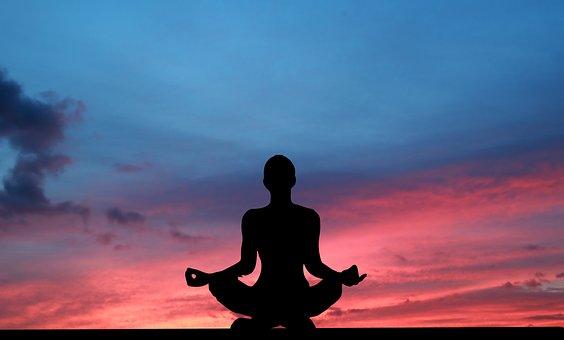 Sunset, Yoga, Zen, Meditation, Woman, Silhouette