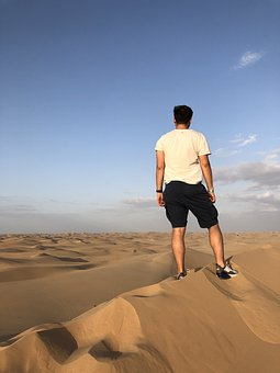 Desert, Thinking, Person, Summer, Lonely, Landscape