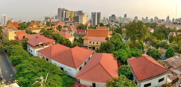 Rooftop, Trees, Green, Asian, Skyscraper, Buildings