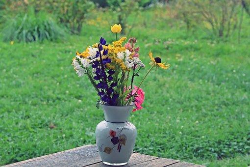 Flowers, August, Bouquet, Vase, Summer, Garden, Nature