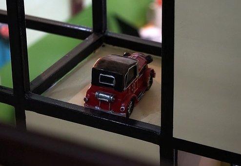 Red, Car, Vintage, Old, Toy, Vehicle, Display, Antique