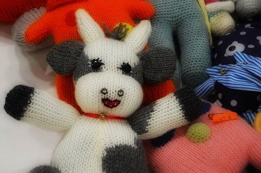 Bear Cub, Bear, Cow, Plush, Cute, Fabric, Wool