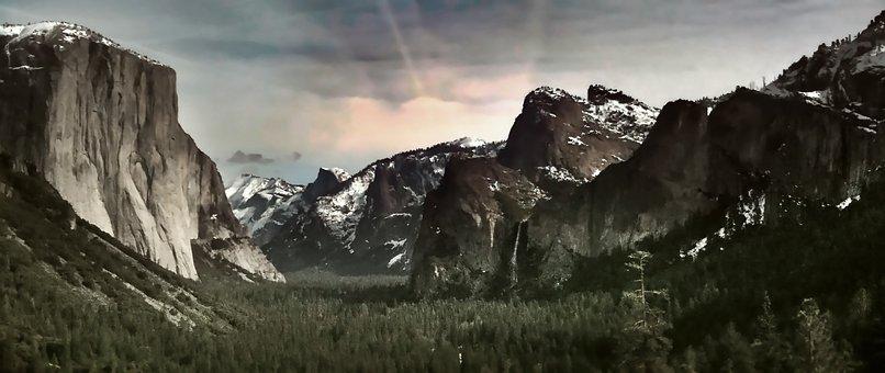 Yosemite, Park, Cliff, Valley, Landscape