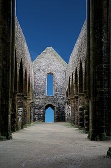 Architecture, Brittany, Night, Abbey, History, Building