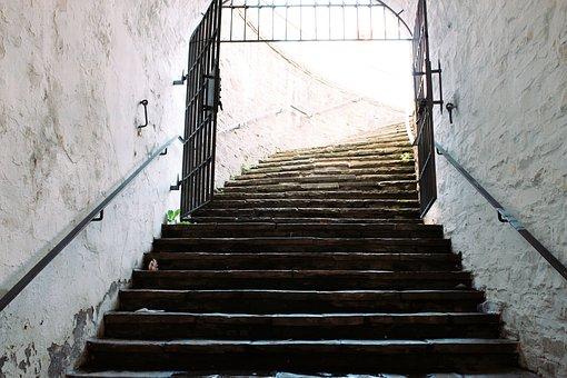 Goal, Stairs, Wall, Old, Castle, Sun, Sunbeam, Input