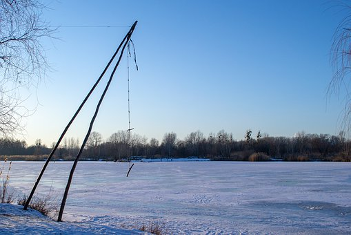Winter, Ice, Cold, Frozen, Bungee, Swing, Evening, Sky