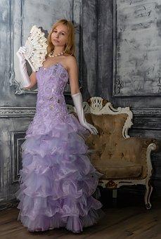 Fan, Dress, Ball, Classic, Baroque, Girl
