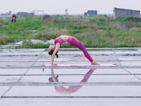 Yoga, Girl, Lovely, Health, Sport, Sky, Nature