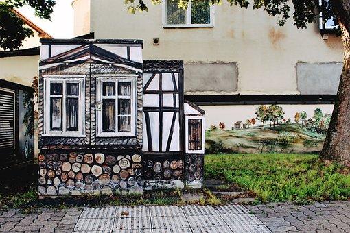 Power Box, Fachwerkhaus, Graffiti, Architecture, City