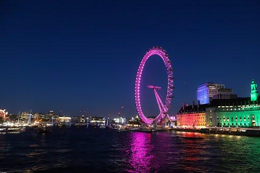 London, Ferris Wheel, Evening, Light