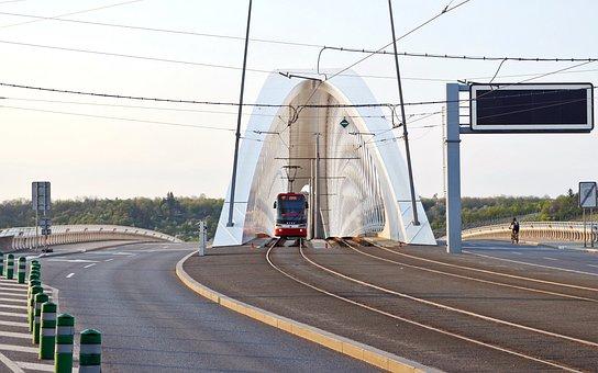 Landscape, Urban, Road, Asphalt, Bridge, Lines, Tram