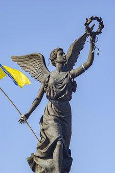 Monument, Girl, Wings, Wreath, Flag, Ukraine, Kharkov