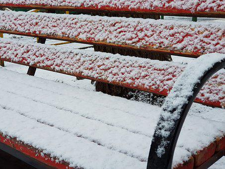 Bench, Park, Dusted, Snow, Winter
