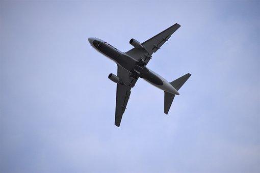 Plane, Belly, Landing, Gear, Sky, Blue