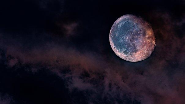 Moon, Sky, Space, Galaxy, Moonlight, Dark, Planet