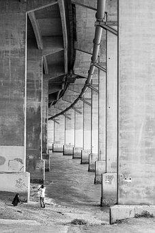 Bridge, Children, Playing, Water, Under, Roadway