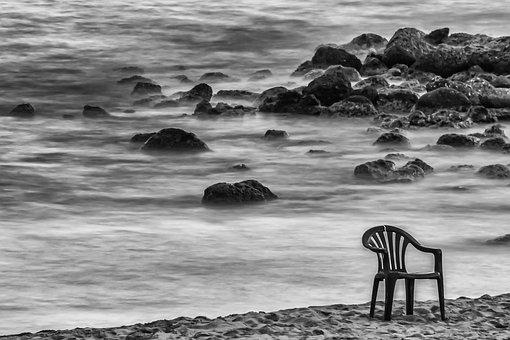Abandoned, Beach, Stones, Rock, Sea, Chair, Sand