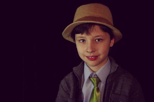 Portrait, Hat, Tie, Smile, Smiling