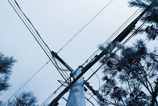 Telephone Pole, Wires, Electricity, Communication