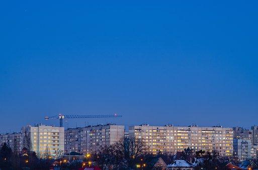 Crane, Tower, At Home, Window, Winter, Evening