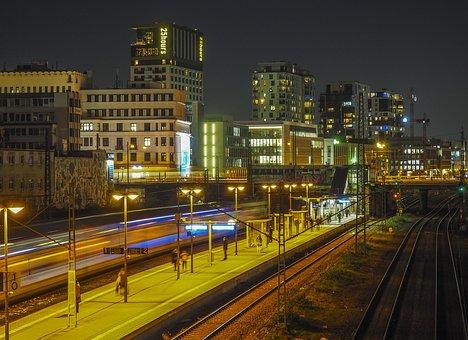 At Night, Railway Station, City, Train, Evening