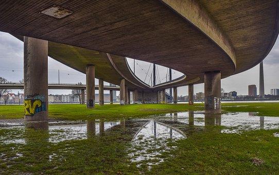 Architecture, Bridge, Concrete, Düsseldorf, Roadways