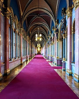 Budapest, Hungary, Parliament, Corridor, Landmark