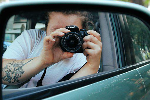 Auto, Camera, Girl, Woman, Lens, Photographer