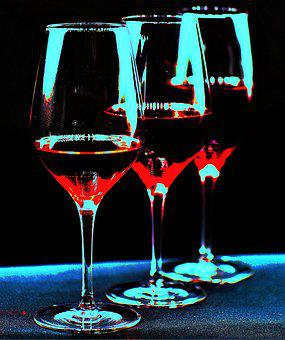 Wine Glasses, Coloured, Abstract, Artistically, Effect