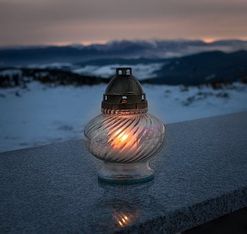 Candle, Mountains, Evening, Memory, Light, Landscape