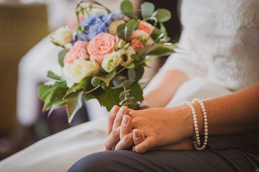 Wedding, Bouquet, Flowers, Roses, Celebration, Romantic
