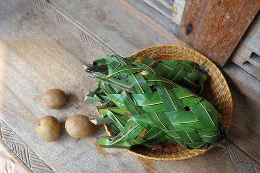 Eco Wrap, Fruit Wrap, Coconut Leaves, Rattan Basket