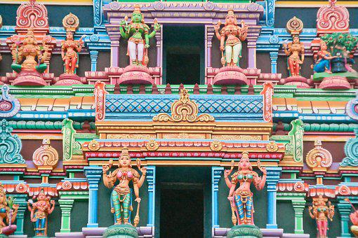 Temple, Hinduism, India, Gods, Colorful, Religion