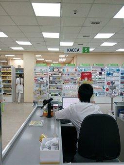 Pharmacy, Medical, Cash, Women, Seller, Interior