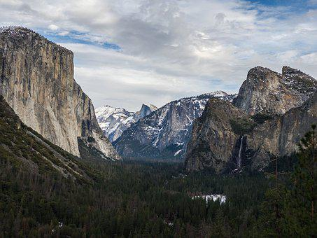 Yosemite, Mountains, Parks, Cliff, Landscape, Valley
