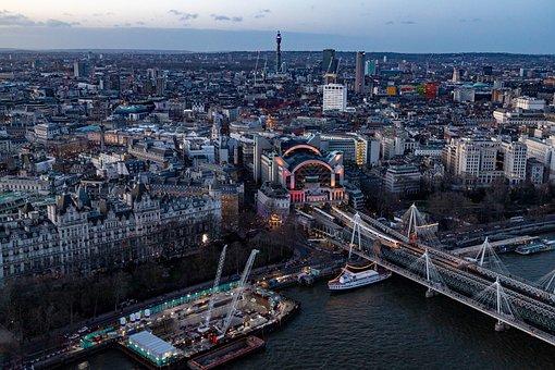 London, Hungerford Bridge, Twilight, City, Skyline