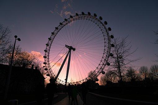London Eye, Sunset, Ferris Wheel, London