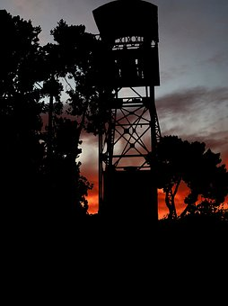 Sunset, Architecture, Tower, Wells, Mine, Building