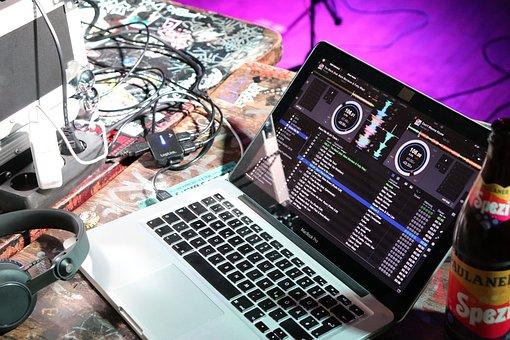Laptop, Music, Dj, Sound Studio, Microphone, Mixer