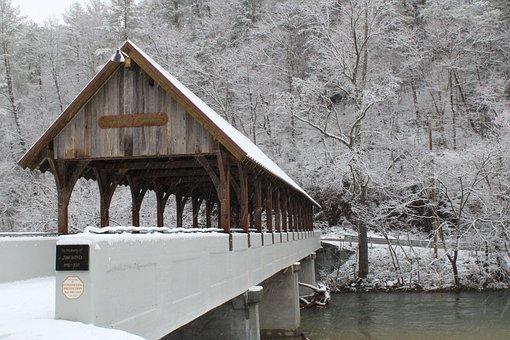 Bridge, Snow Covered, River, Snow, Winter, Landscape