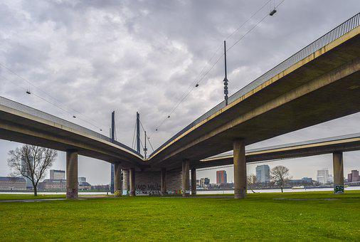 Architecture, Bridge, Concrete, Düsseldorf, Roadways
