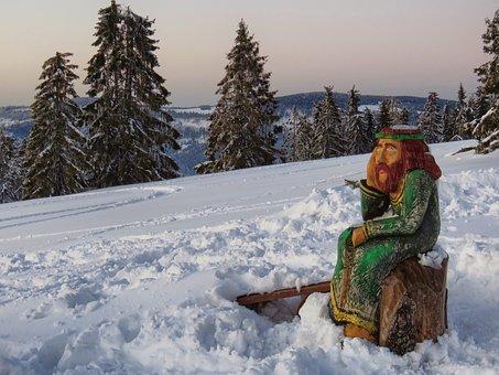 Sculpture, Wooden, Christ, Swiatek, Brooding, Winter