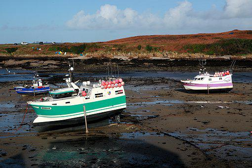 Port, Brittany, Boats, Low Tide, Ocean, Side, Sea