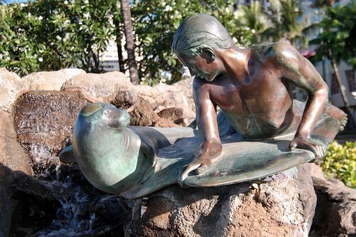 Statue, Surfer, Robbe, Surfboard, Hawaii