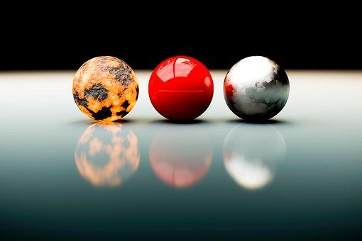 Balls, Three, 3, 3D, Pattern, Texture