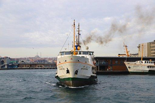 Ship, V, Istanbul, Turkey, Marine, Estuary, Galata
