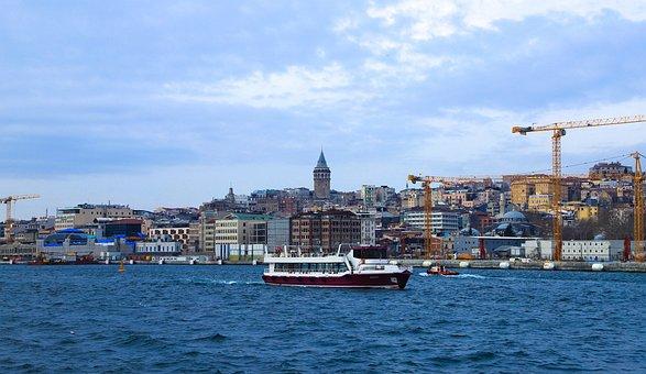 Galata Tower, Istanbul, Buildings, Boat, Ship, V