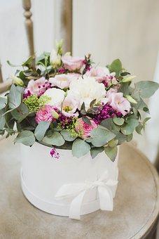 Flowers, Box, Eukaliptus, Gift, Chair, Wedding, White