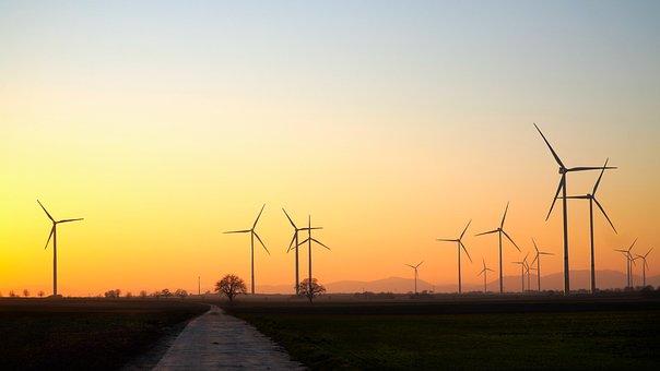 Windräder, Wind Energy, Wind Power, Sky, Sunset